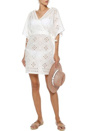JETS AUSTRALIA by JESSIKA ALLEN Indulgence wrap-effect broderie anglaise cotton coverup