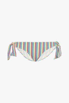 SOLID & STRIPED Striped seersucker low-rise bikini briefs