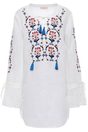 TORY BURCH Tasseled embroidered linen-gauze kaftan