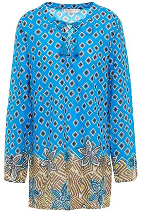 TORY BURCH Lace-up tassel-trimmed printed cotton mini dress