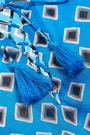 TORY BURCH Lace-up tassel-trimmed printed cotton mini dress