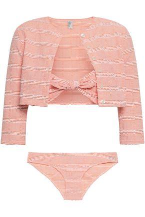 LISA MARIE FERNANDEZ Seersucker bandeau bikini