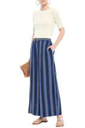 DVF WEST DIANE VON FURSTENBERG Striped silk-blend wide-leg pants