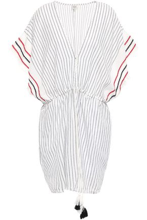 CHARLI Embroidered striped cotton-gauze kaftan