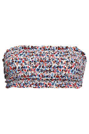 TORY BURCH Smocked printed bandeau bikini top