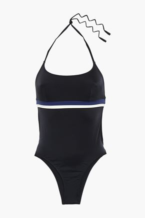 SOLID & STRIPED The Marina open-back halterneck swimsuit