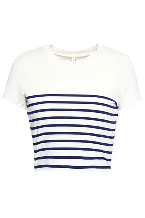 SOLID & STRIPED Meghan cropped striped stretch-jersey T-shirt