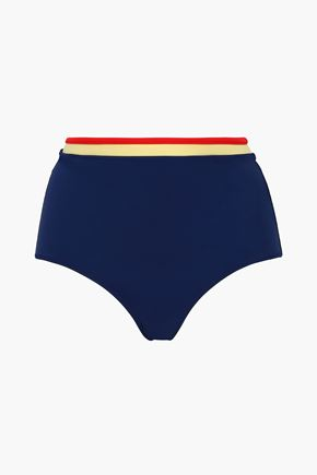 SOLID & STRIPED Color-block high-rise bikini briefs