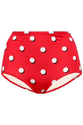 SOLID & STRIPED The Brigitte polka-dot high-rise bikini briefs