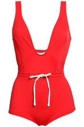 SOLID & STRIPED Belted swimsuit