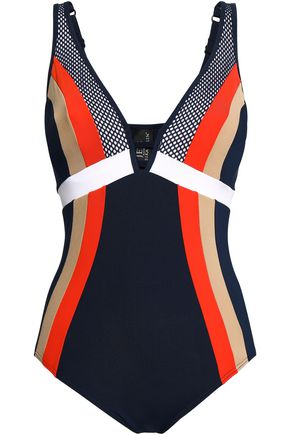 JETS AUSTRALIA by JESSIKA ALLEN Mesh-paneled striped swimsuit