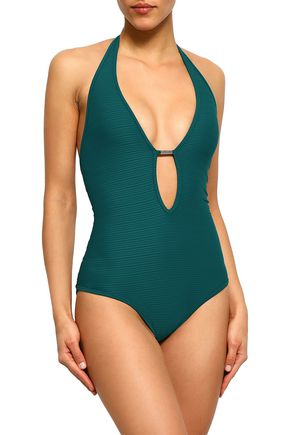 JETS AUSTRALIA by JESSIKA ALLEN Disposition Plunged ribbed halterneck swimsuit