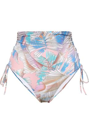 MELISSA ODABASH Madrid lace-up printed high-rise bikini briefs
