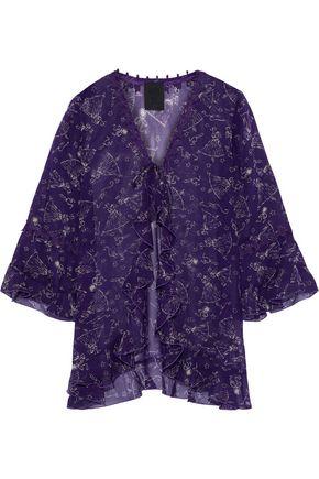 ANNA SUI Ruffled printed silk-chiffon jacket