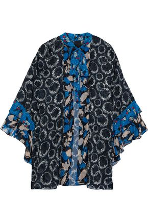 ANNA SUI Pussy-bow printed georgette-trimmed fil coupé silk kimono