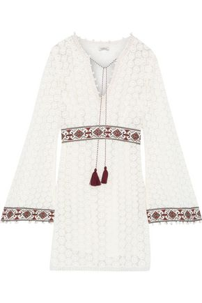 TALITHA Embroidered crocheted cotton mini dress
