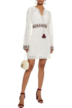 TALITHA Embellished crocheted cotton mini dress