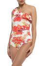 ISOLDA Ruffled printed one-shoulder swimsuit