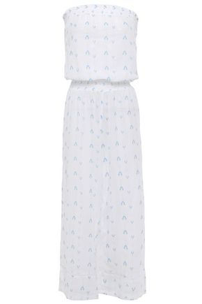 HEIDI KLEIN Strapless gathered printed cotton-gauze jumpsuit