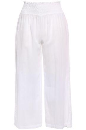 HEIDI KLEIN Shirred cotton-gauze wide-leg pants
