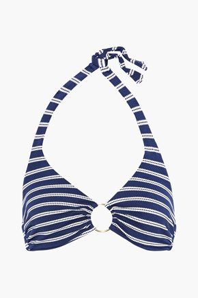 MELISSA ODABASH Ring-embellished striped piqué halterneck bikini top