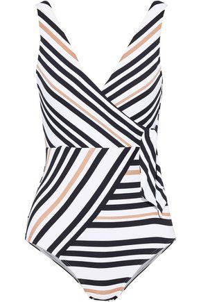 JETS AUSTRALIA by JESSIKA ALLEN Wrap-effect metallic striped swimsuit