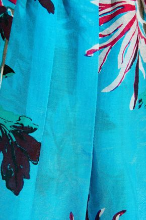 DVF WEST DIANE VON FURSTENBERG Gathered cotton and silk-blend midi skirt