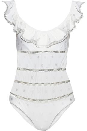 ZIMMERMANN Melody Dot cutout ruffled swimsuit