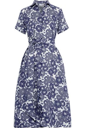 LISA MARIE FERNANDEZ Belted floral-print linen shirt dress