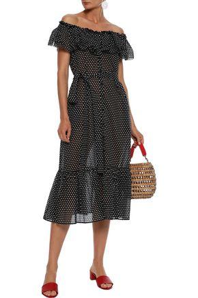LISA MARIE FERNANDEZ Mira off-the-shoulder ruffled polka-dot cotton-gauze midi dress