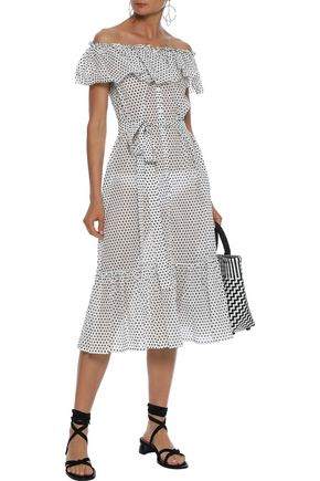 LISA MARIE FERNANDEZ Mira off-the-shoulder ruffled polka-dot cotton-gauze midi dress