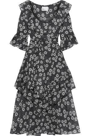 LISA MARIE FERNANDEZ Laura tiered floral-print cotton-voile midi dress