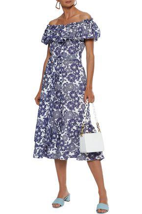 LISA MARIE FERNANDEZ Mira off-the-shoulder ruffled floral-print linen midi dress