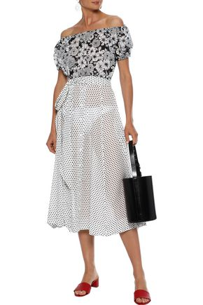 LISA MARIE FERNANDEZ Belted polka-dot cotton-poplin midi skirt