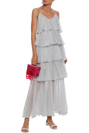 LISA MARIE FERNANDEZ Imaan tiered polka-dot cotton-voile maxi dress