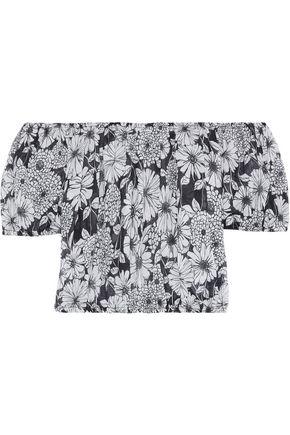 LISA MARIE FERNANDEZ Leandra cropped off-the-shoulder floral-print cotton top