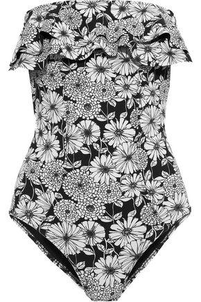 LISA MARIE FERNANDEZ Sabine strapless ruffled floral-print swimsuit