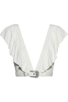 ONIA + We Wore What Willa belted ruffled bikini top