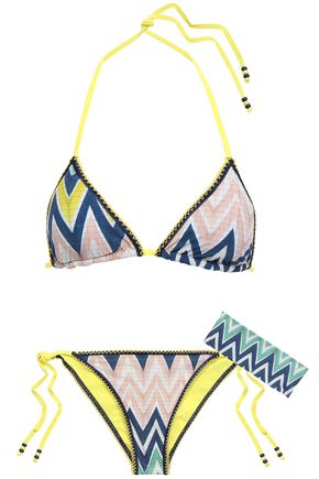 M MISSONI Bead-embellished printed triangle bikini
