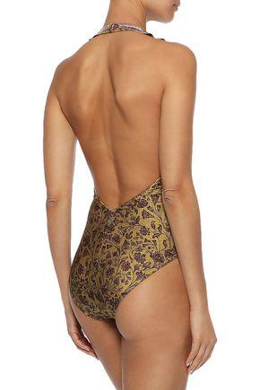 ZIMMERMANN Juniper Frill button-embellished floral-print halterneck swimsuit