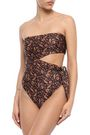 ZIMMERMANN Strapless cutout floral-print swimsuit