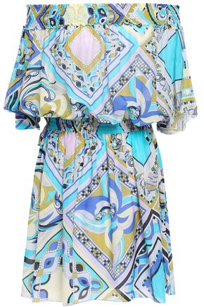 Off The Shoulder Shirred Printed Cotton And Silk Blend Mini Dress by Emilio Pucci