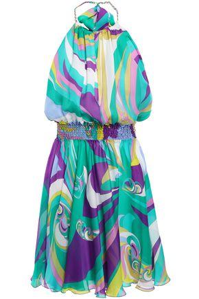 EMILIO PUCCI Shirred printed silk-chiffon halterneck mini dress