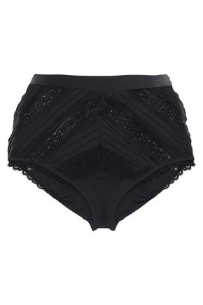 ZIMMERMANN Lace-paneled high-rise bikini briefs