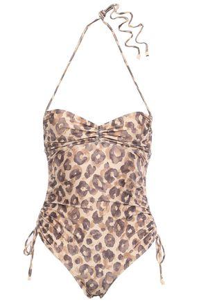 ZIMMERMANN Ruched leopard-print halterneck swimsuit