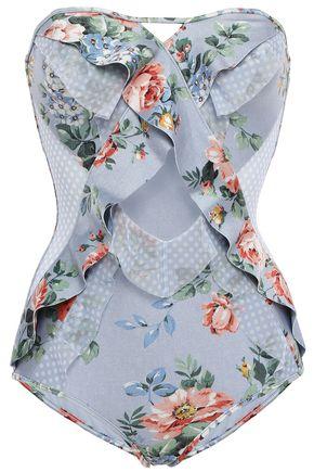 ZIMMERMANN Strapless cutout printed swimsuit