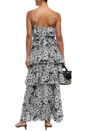 LISA MARIE FERNANDEZ Tiered floral-print cotton maxi dress