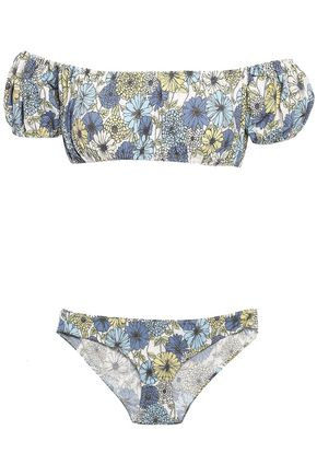 LISA MARIE FERNANDEZ Off-the-shoulder floral-print cotton-blend bikini