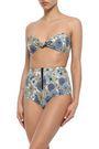 LISA MARIE FERNANDEZ Knotted floral-print cotton-blend bandeau bikini