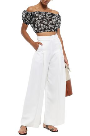 LISA MARIE FERNANDEZ Off-the-shoulder printed cotton top